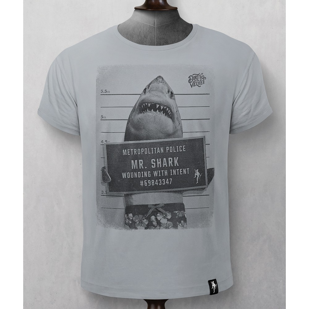 Dirty Velvet Mr Shark T-Shirt Highrise Grey