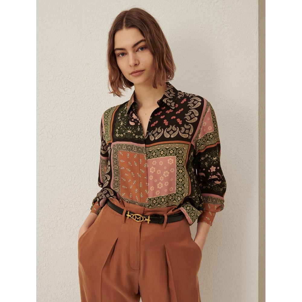 Marella Ballo Patterned Silk Shirt Tobacco