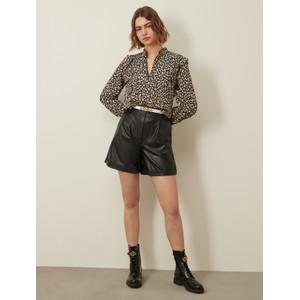Marella Guaina Patterened Ruffle Shirt Natural/Black