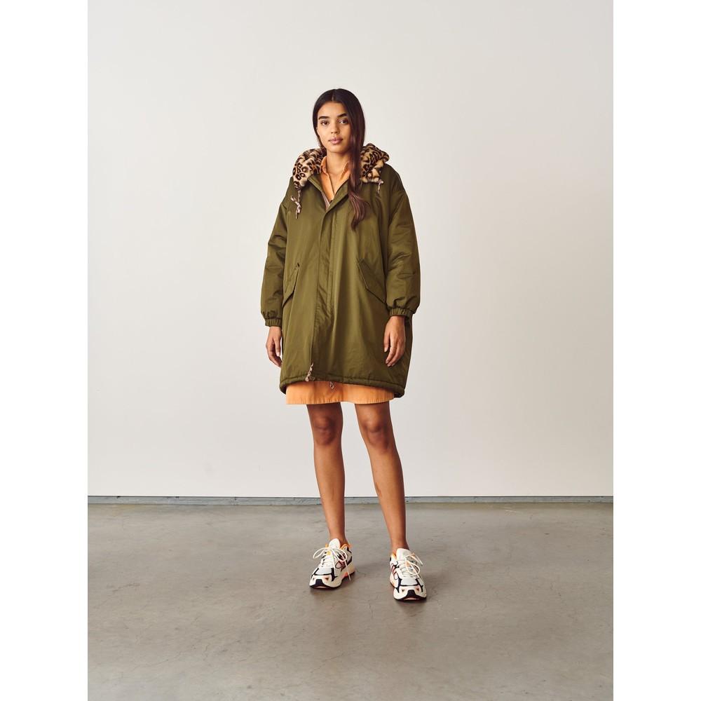 Bellerose Laos Leo Faux Fur Lined Jacket Olive