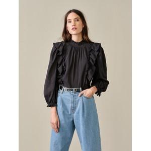 Bellerose Hariet Long Sleeve Ruffle Blouse Off Black