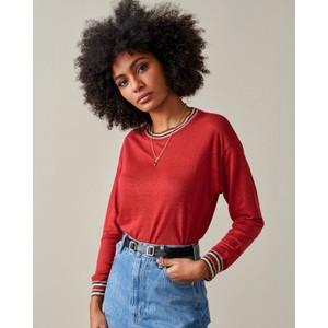 Bellerose Senia Stripe Trim Long Sleeve Top in Red Dhalia
