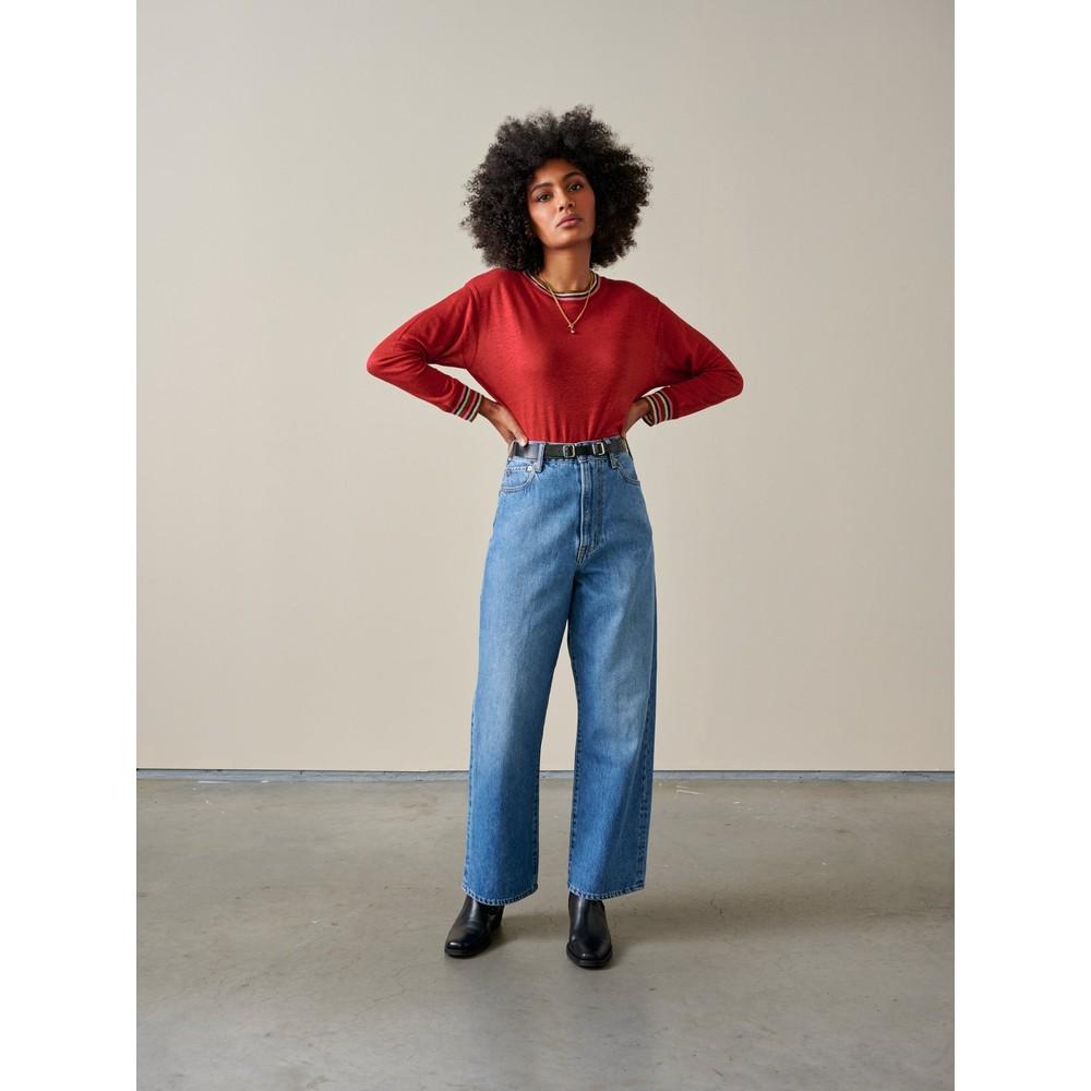 Bellerose Senia Stripe Trim Long Sleeve Top Red Dhalia