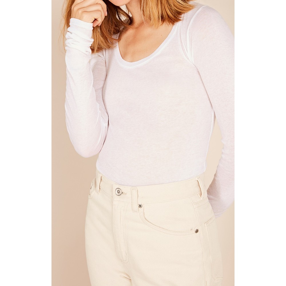 American Vintage Massachusetts Long Sleeve Scoop Neck Top White