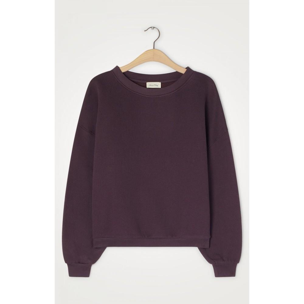 American Vintage Ikatown Oversized Crop Sweater Aubergine