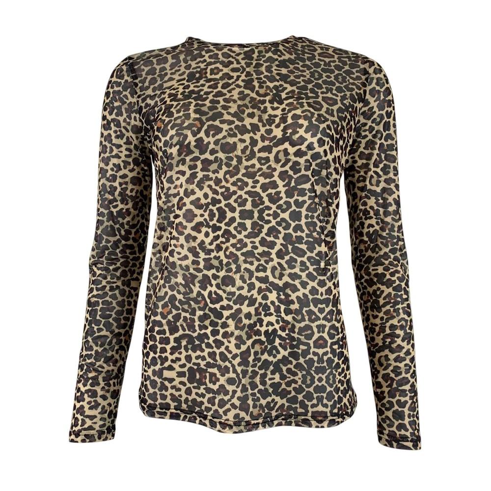 Black Colour Annie Mesh Long Sleeve Blouse Brown Leo Animal Print
