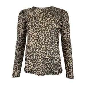 Annie Mesh Long Sleeve Blouse Brown Leo Animal Print
