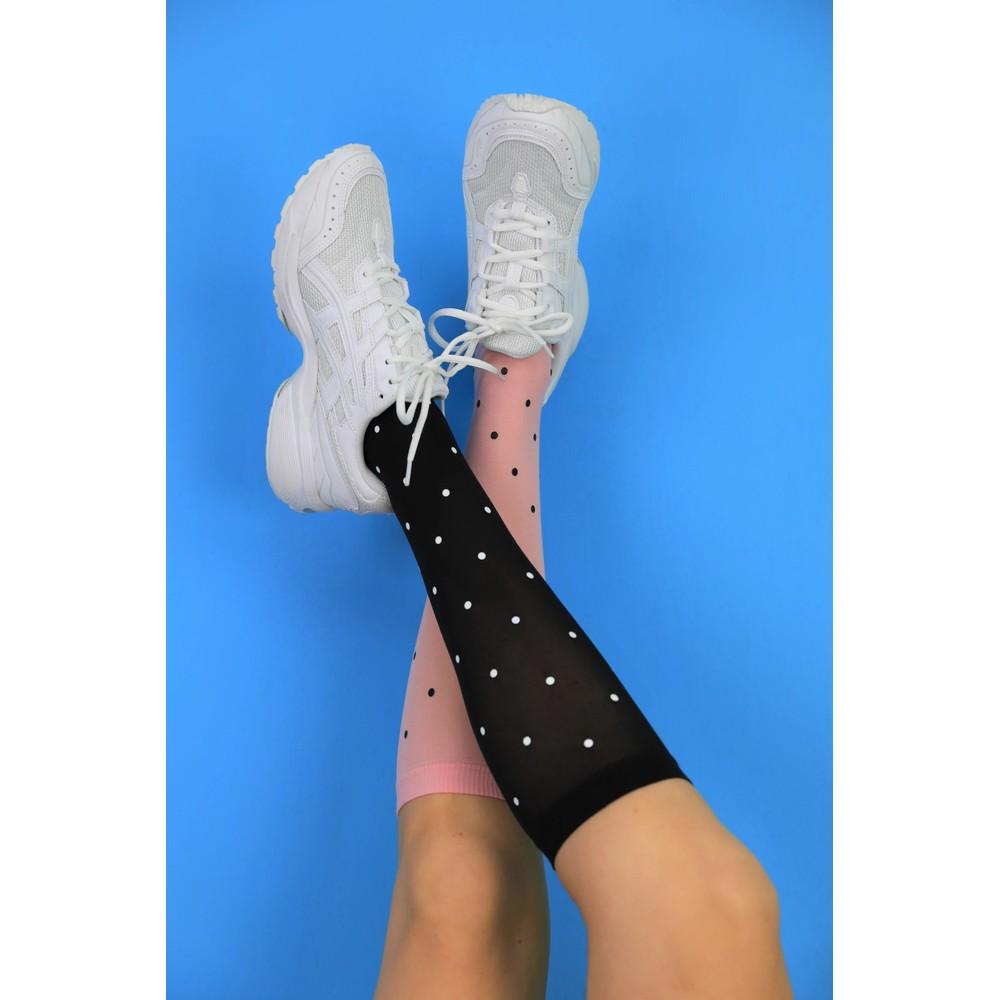 Black Colour Aura Knee High Socks Pink Candy Black Dots