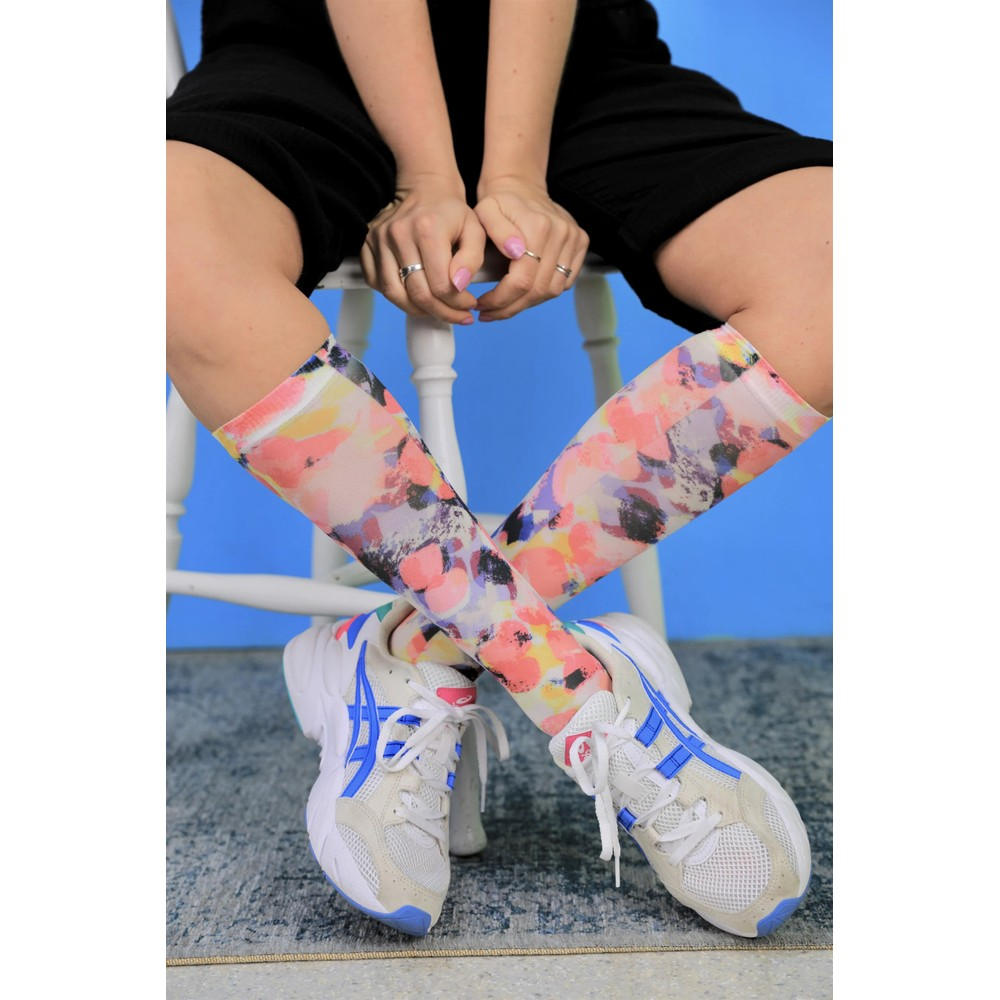 Black Colour Aura Knee High Socks Colour splash multi