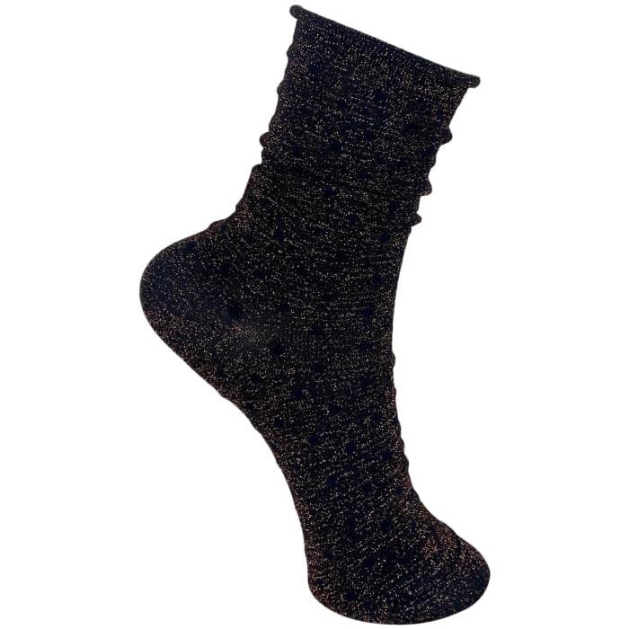 Black Colour Gazelle Glitter Dot Socks Bronze Brown