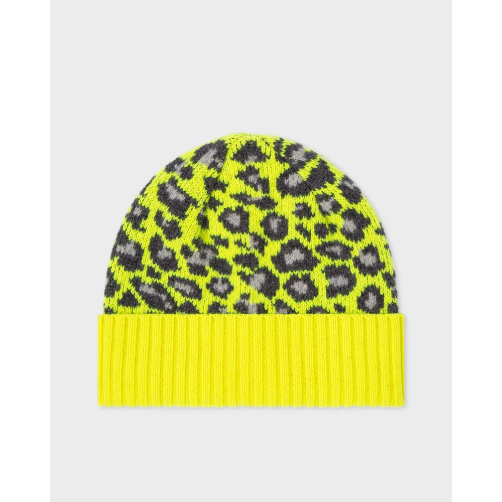 Paul Smith Accessories Leopard Beanie Hat Yellow