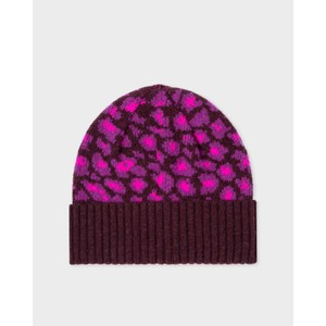 Paul Smith Accessories Leopard Beanie Hat in Pink