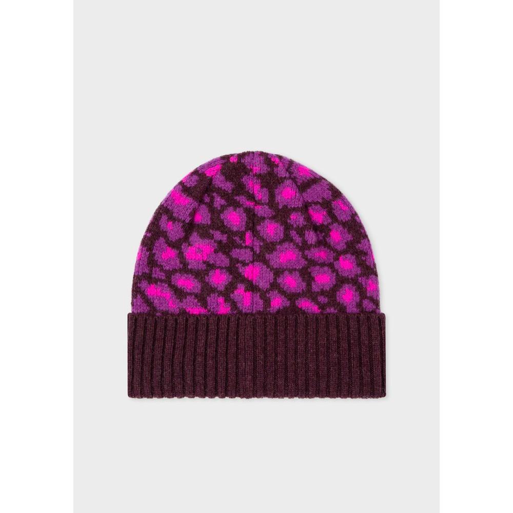 Paul Smith Accessories Leopard Beanie Hat Pink
