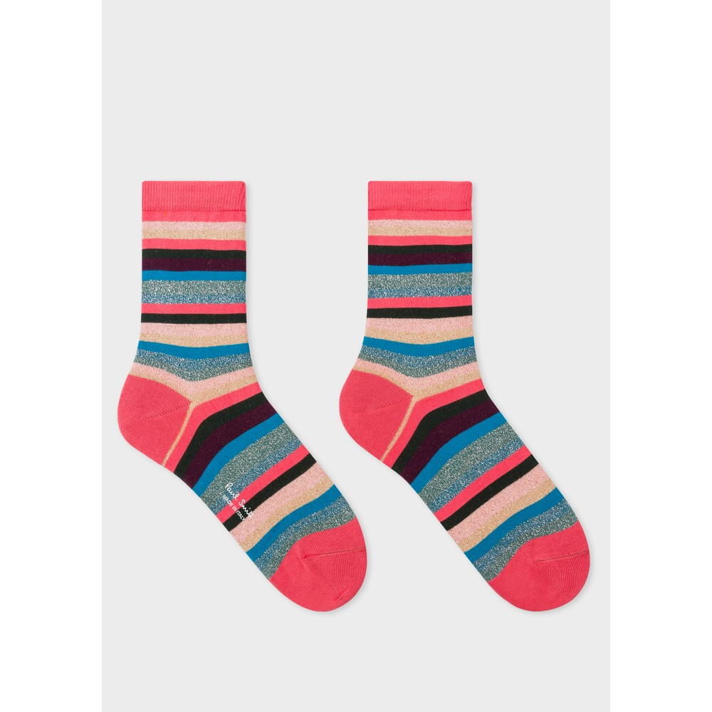 Paul Smith Accessories Clarissa Lurex Stripe Socks Turquoise/Multi