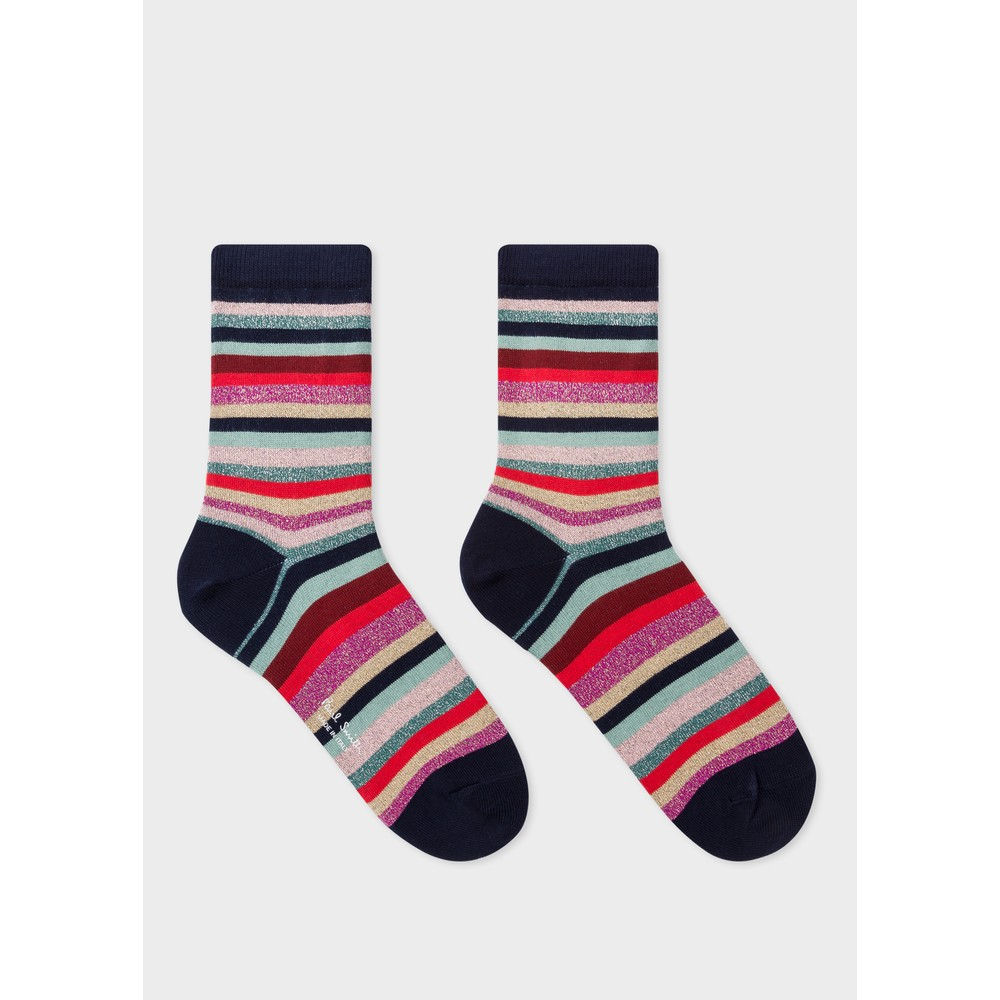 Paul Smith Accessories Clarissa Lurex Stripe Socks Swirl
