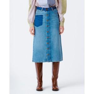 Rally Long Denim Skirt Blue