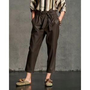Faux Leather Tie Belt Trousers Earthy Brown