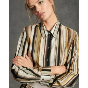 Feather Stripe Shirt Brown/Black/Gold