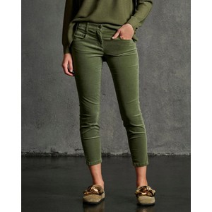 Stretch Velvet Denim Trousers Greenish Grey