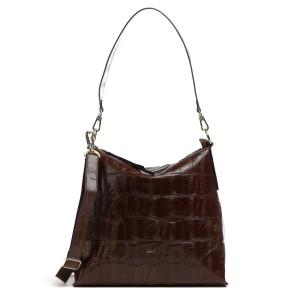 Julie Croc Hobo Bag Dark Brown