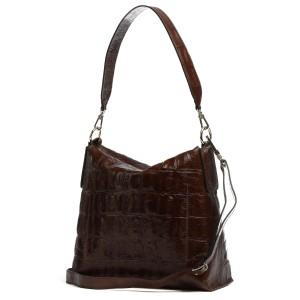 abro Julie Croc Hobo Bag Dark Brown