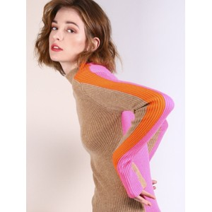 Anna Block Colour Rib Knit Camel/Pink/Orange