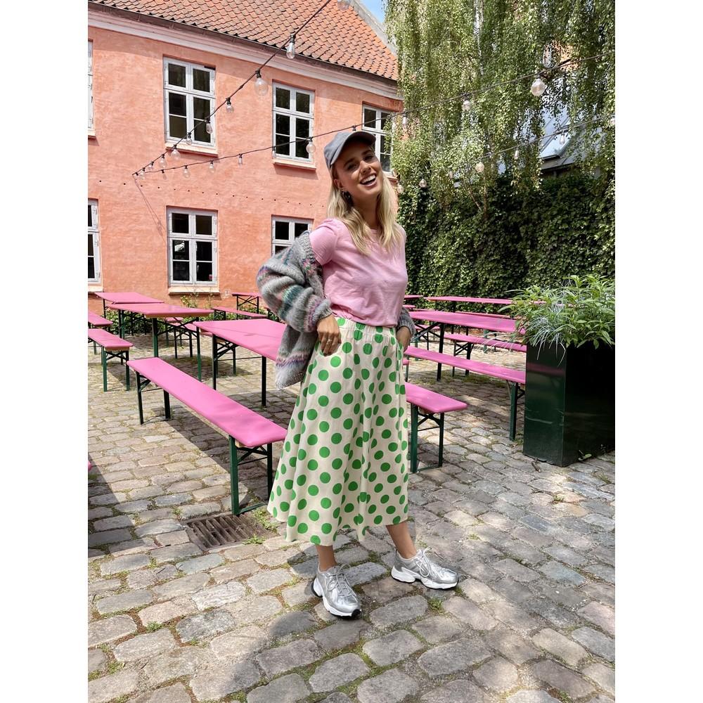 Black Colour Polka Dot Skirt With Pockets Cream/Green