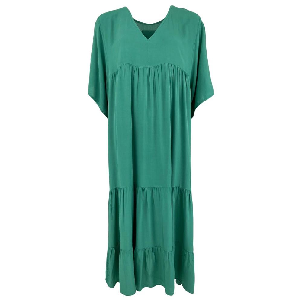 Black Colour Ollie V-Neck Tiered Dress Green