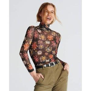 Sheer Long Sleeve Turtleneck Black Floral Multi