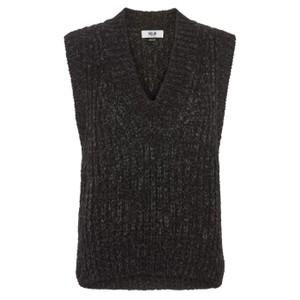 Moliin Marley V Neck Knit Tank Top Black/Charcoal