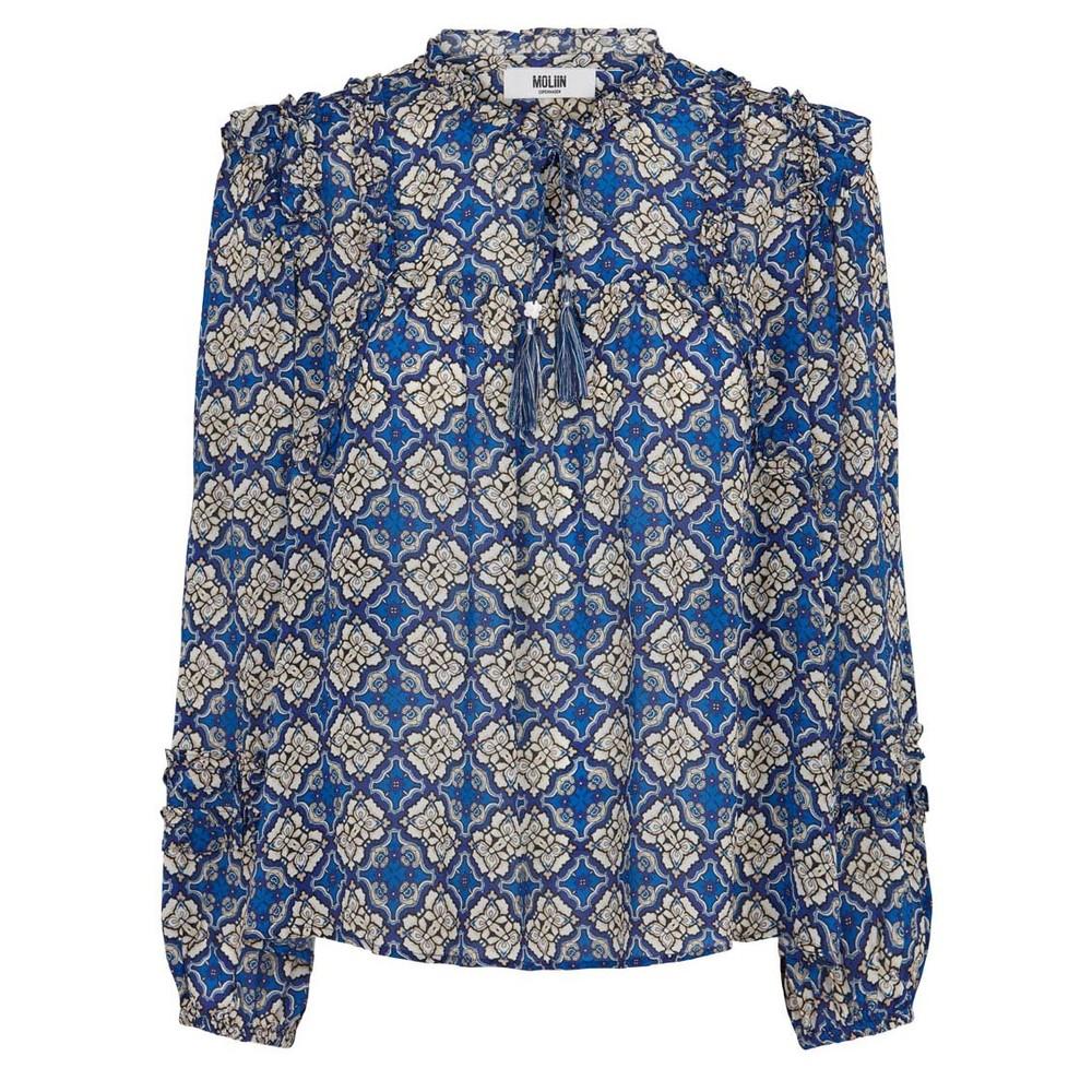 Moliin Nicole Ruffle Floral Top Mazarine Blue
