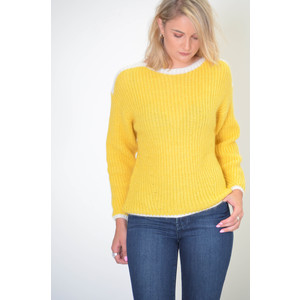 Reggae Contrast Knit Jumper Yellow/White