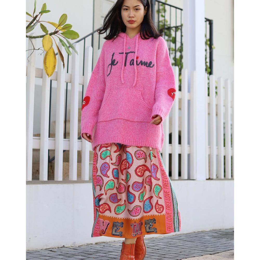 Me369 Joy Paisley Print Midi Skirt Paisley/Pink