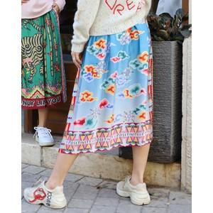Me369 Joy Compass Print Midi Skirt Cloud/Blue