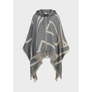 Riani Hooded Poncho With Zip Slate Patterned