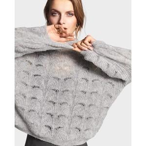 3/4 Sleeve Loose Knit Jumper Silver Grey