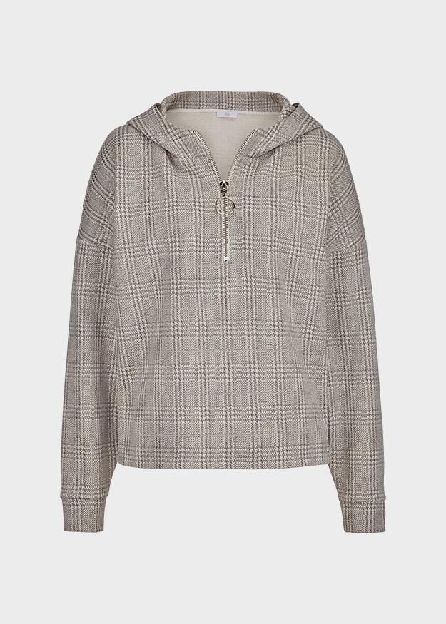 Riani 1/4 Zip Checked Jersey Hoody Opaline Patterned