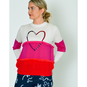 Heart Colour Block Knit Jumper Ivory/Fuschia/Red