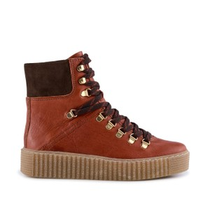 Agda Lace Up Boot-Leather Red Brown