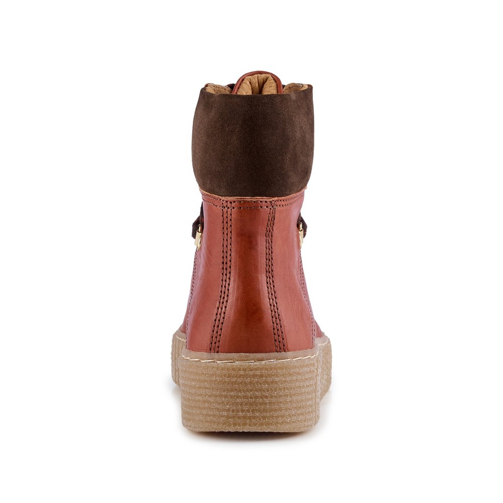 Shoe The Bear Agda Lace Up Boot-Leather Red Brown