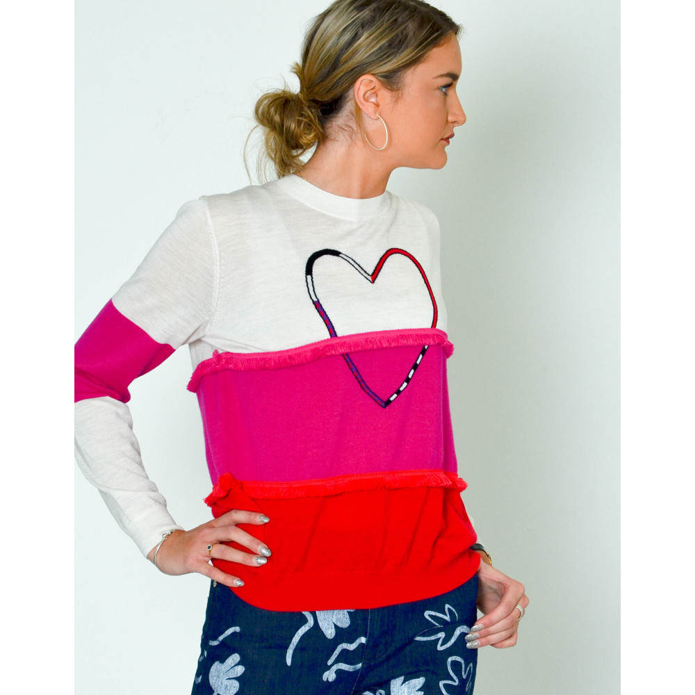 Paul Smith Womens Heart Colour Block Knit Jumper Ivory/Fuschia/Red
