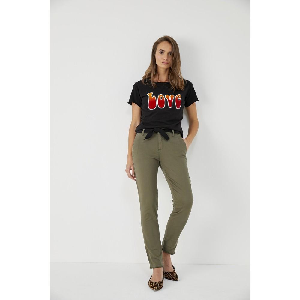 Five Caly Raw Hem Slim Leg Trouser Khaki