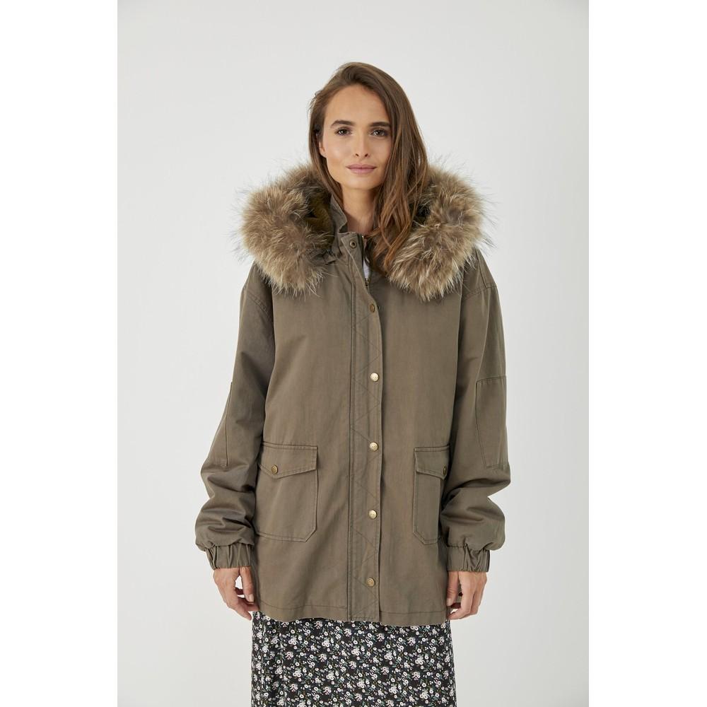 Five Faux Fur Lined Hooded Parka Khaki