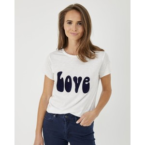 Love Motif Short Sleeve T-Shirt Ecru