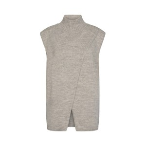 Gymla Wrap Knit Vest Light Grey Melange