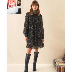 Rush Long Sleeve Paisley Print Dress Dandelion/Black