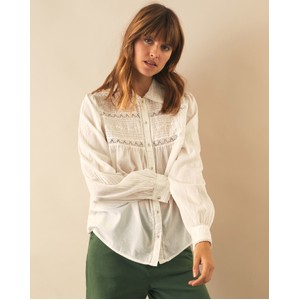 Cosy Long Sleeve Lace Detail Shirt White