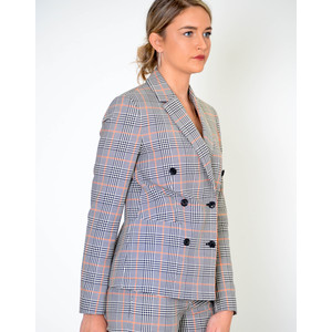 Paul Smith Womens Large Check Double Breasted Jacket Black/Off White/Coral