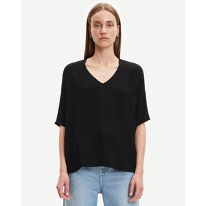 Mains Short Sleeve V-Neck Boxy Top Black