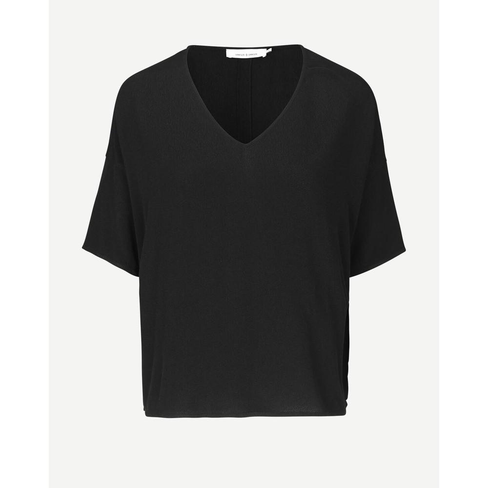 Samsoe Samsoe Mains Short Sleeve V-Neck Boxy Top Black